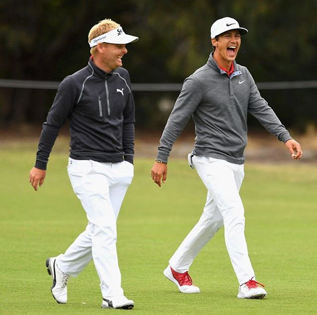 All smiles! @thorbjornolesen and I finished T4 at the @worldcupofgolf after a superb final round.  Congrats to Team Belgium @thomaspietersgolf and @tomdetry on winning the great trophy 🏆 #golf #ejnerhessel #mercedes #pumagolf #instagolf #srixongolf #🏌️♂️