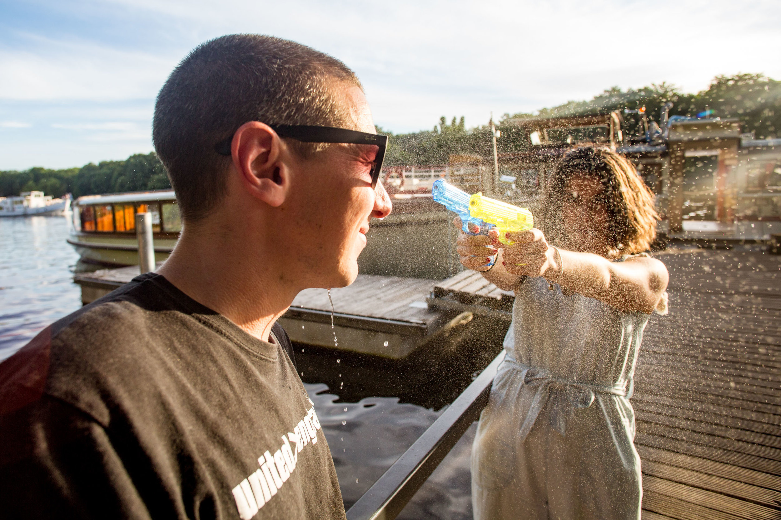 Liam, Customer Service Team Leader, cooling off at the GetYourGuide Summer Party