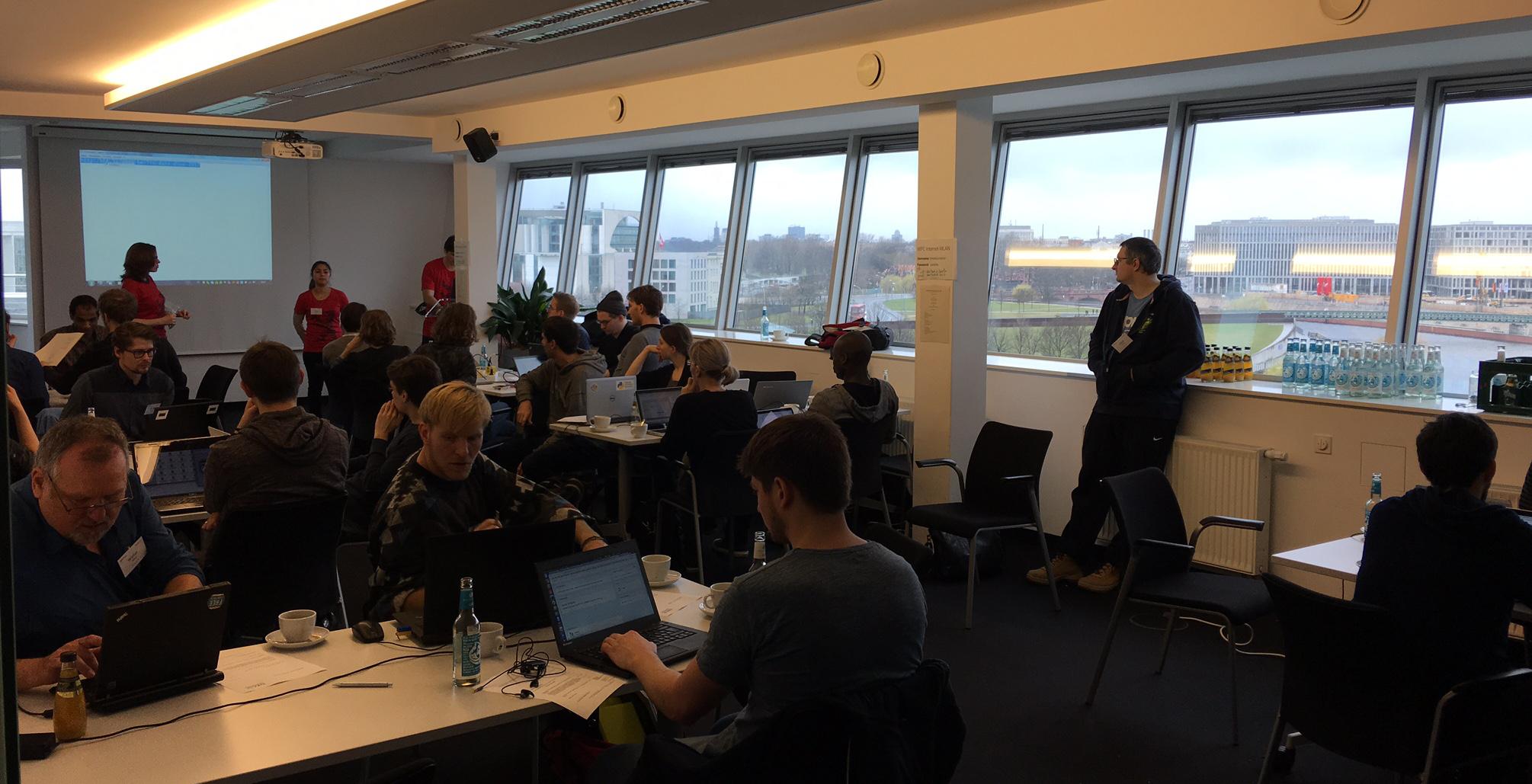 Foreground: Making data work. Background: German Chancellery
