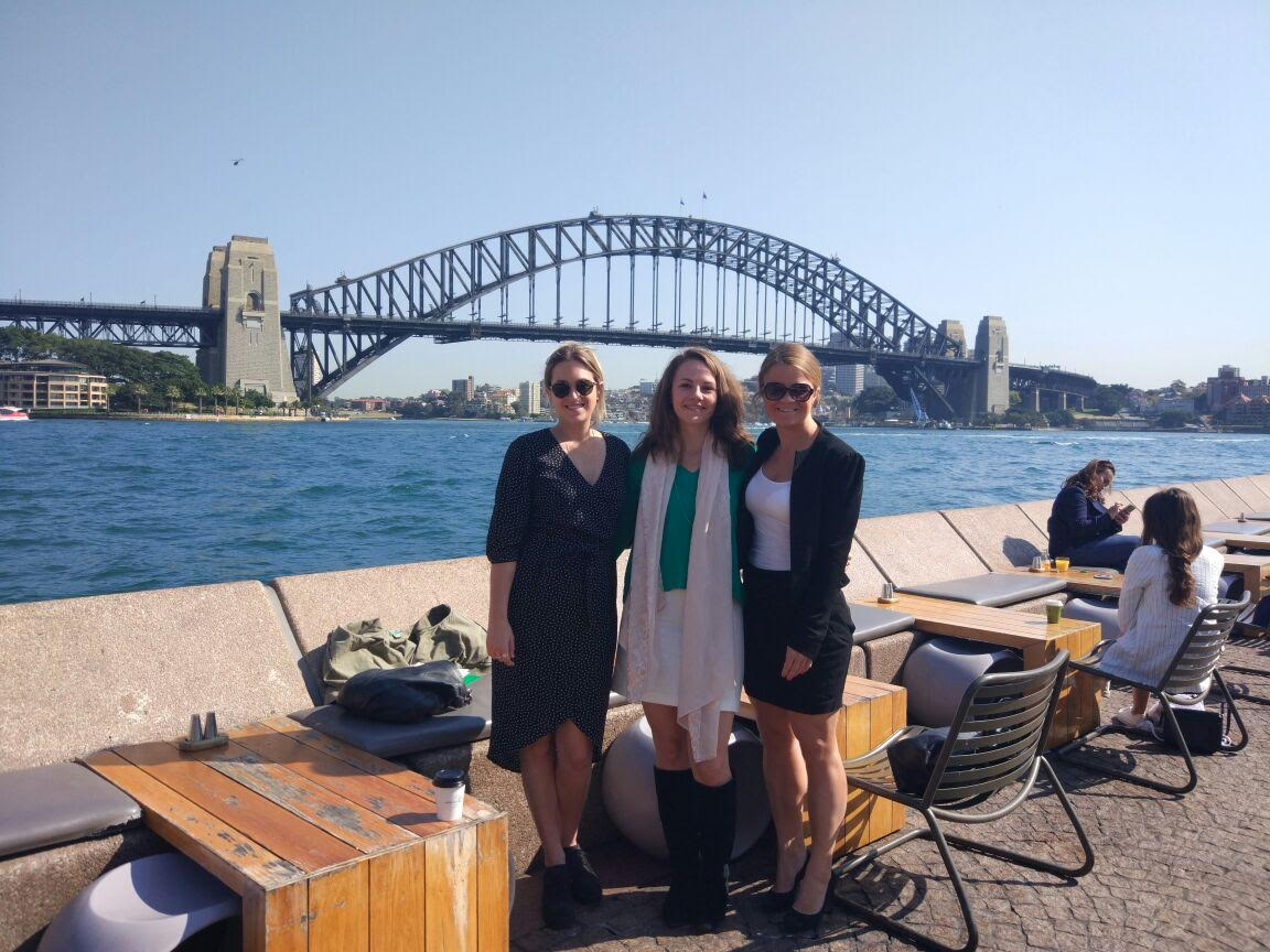 Julia from our Dubai office with Stephanie and Tilly from our Sydney office. Left to right: Stephanie, Tilly and Julia.