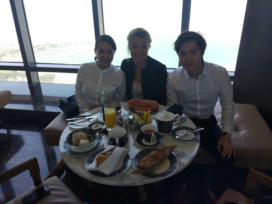 Breakfast meetings with Pamela, Alvin and Julia. Pictured here in Etihad Towers, Abu Dhabi.