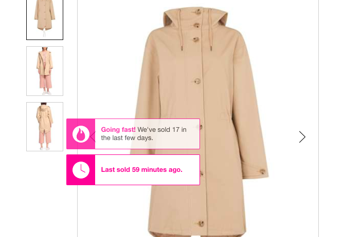 House of Fraser displays  real-time activity on their site , both on the search and product page.
