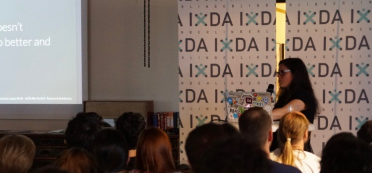 Tamara presenting at IxDA Berlin. Photo by Konrad Röpke.