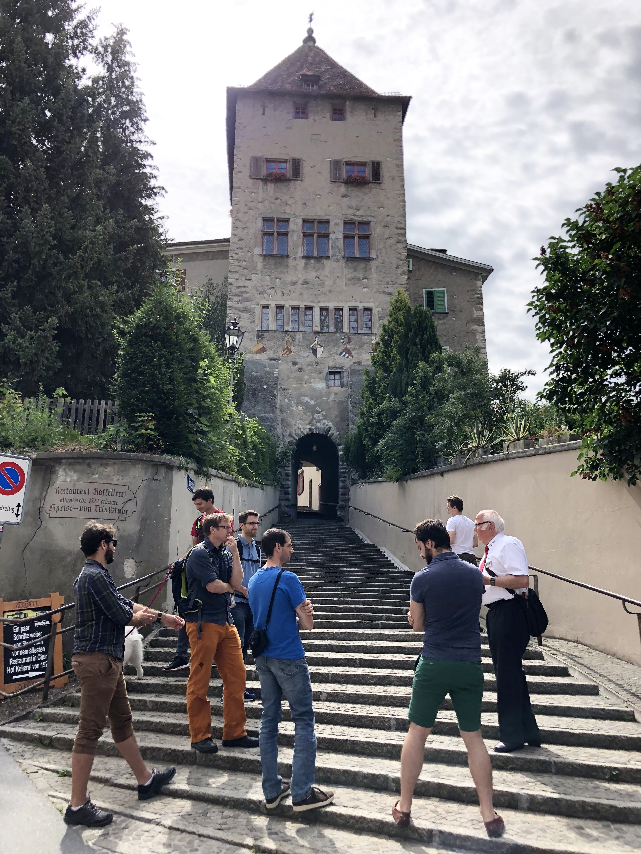 The team begins their team event with a walking tour.