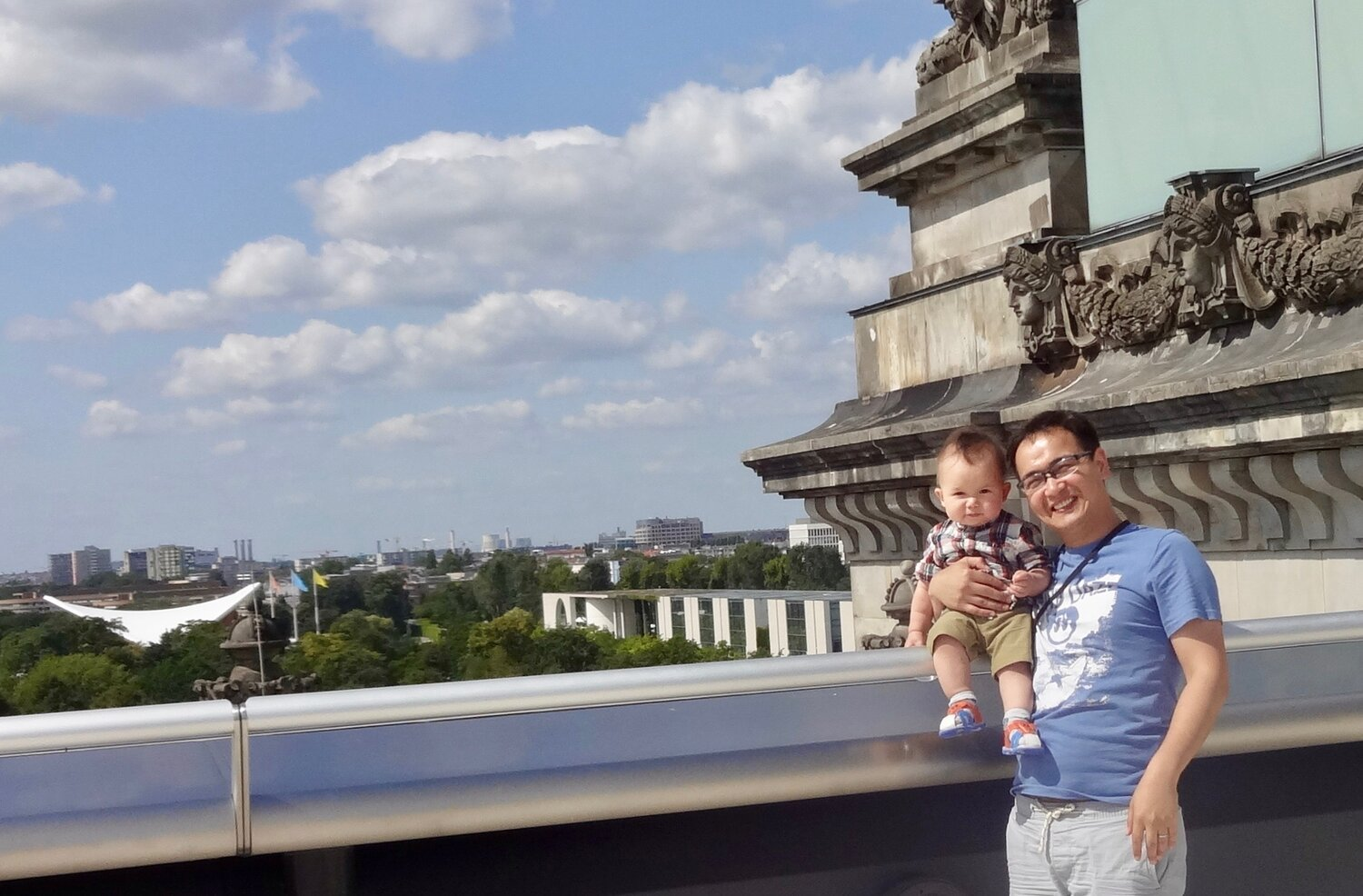 Gurban and his son taking in the Berlin sights