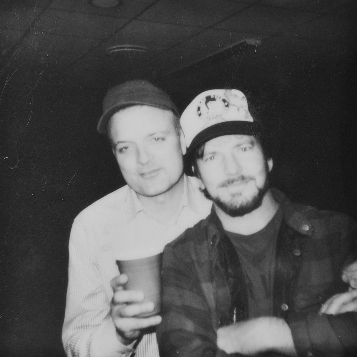 The drunk and the straight arrow. Henrik Tuxen &Eddie Vedder. Stockholm, Sweden. June 28, 2014. Polaroid photo: Mike McCready. (From chapter 16)