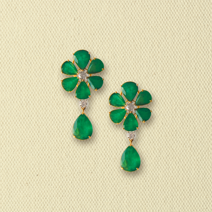 EMERALD AND DIAMOND FLORET EARRINGS