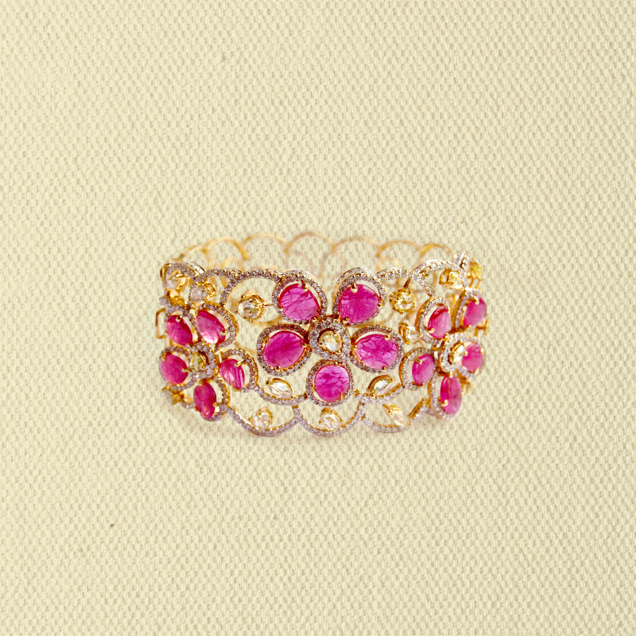 RUBY AND DIAMOND FLORAL CUFF