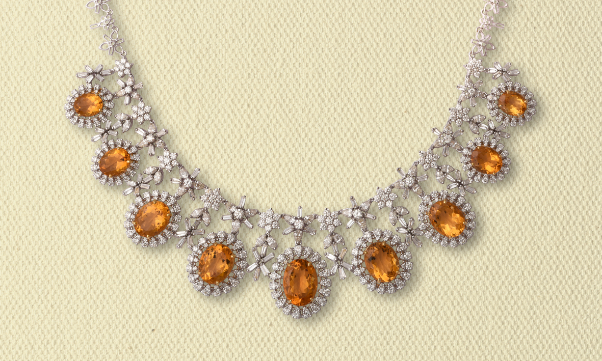 NECKLACE OF DIAMONDS & ORANGE CITRINES
