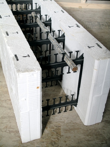 Cutaway of ICF block showing webs every six inches