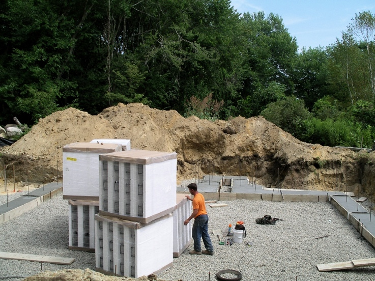 Pallets of ICFs placed on foundation