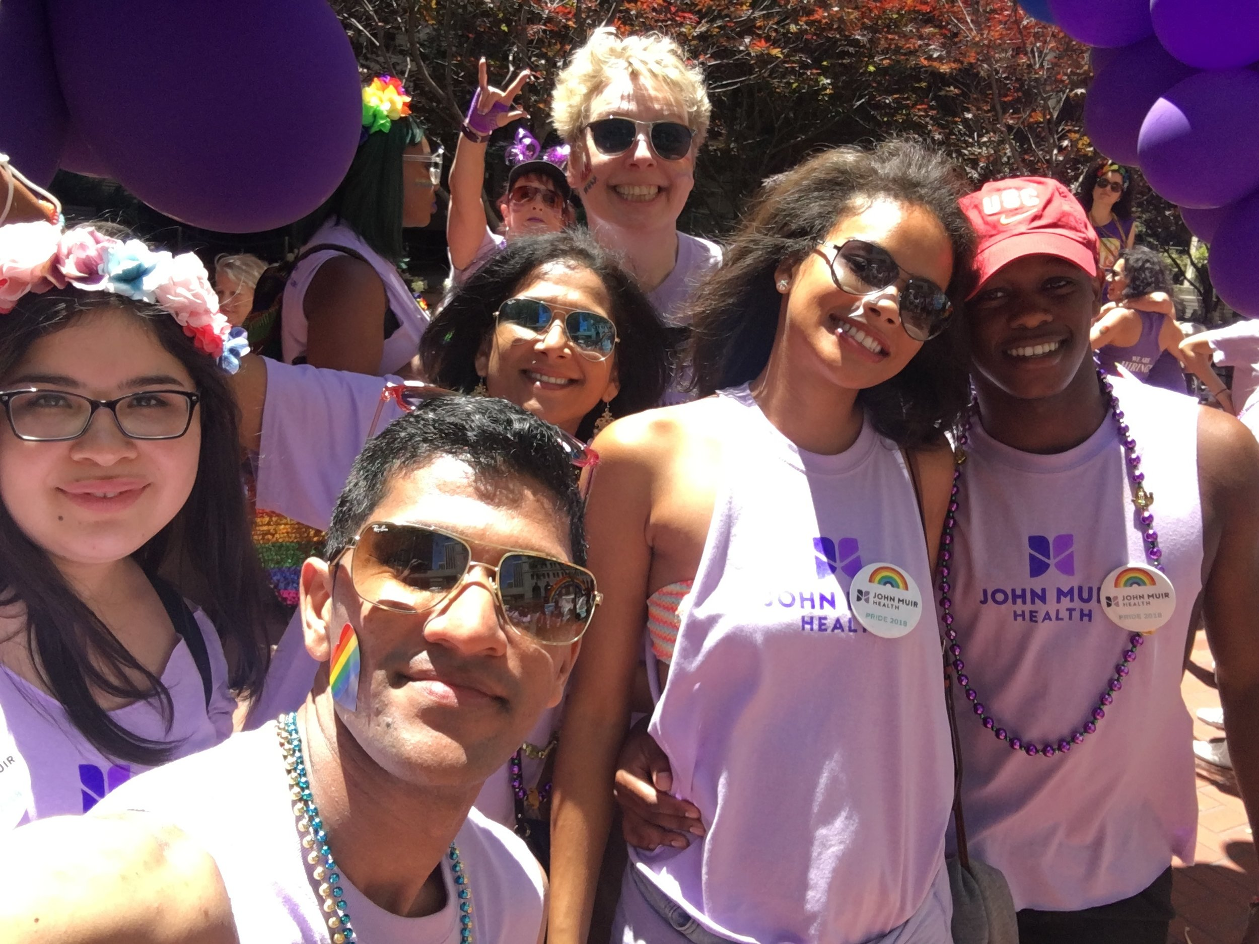My mother, my little sister, our family friend, and my mom's German lesbian boss, Berthe at San Francisco Pride
