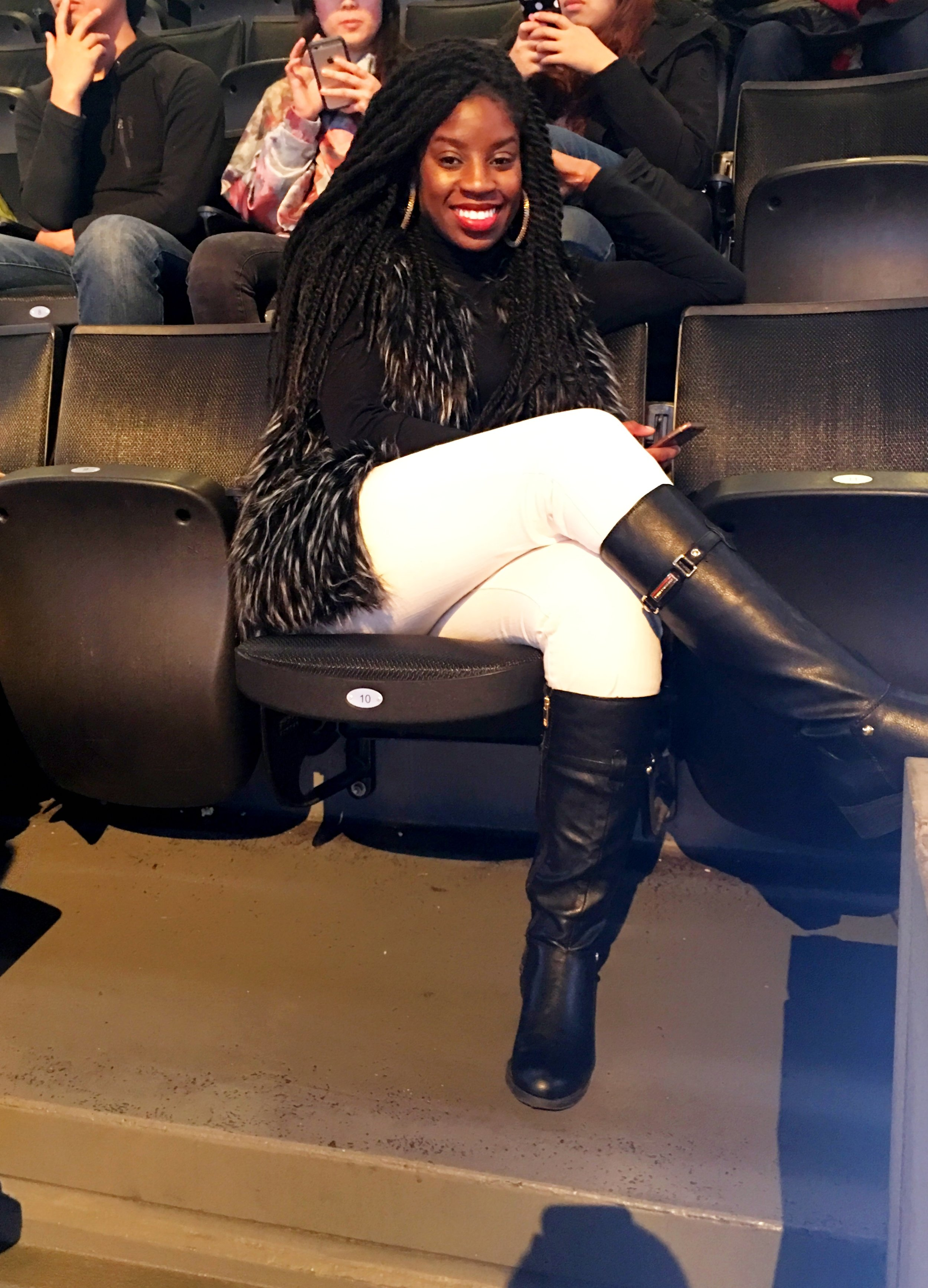 Basketball Game at  Barclays Center   Top and Jeans:  Ralph Lauren , Faux Fur Vest:  Boohoo , Boots:  Tommy Hilfiger