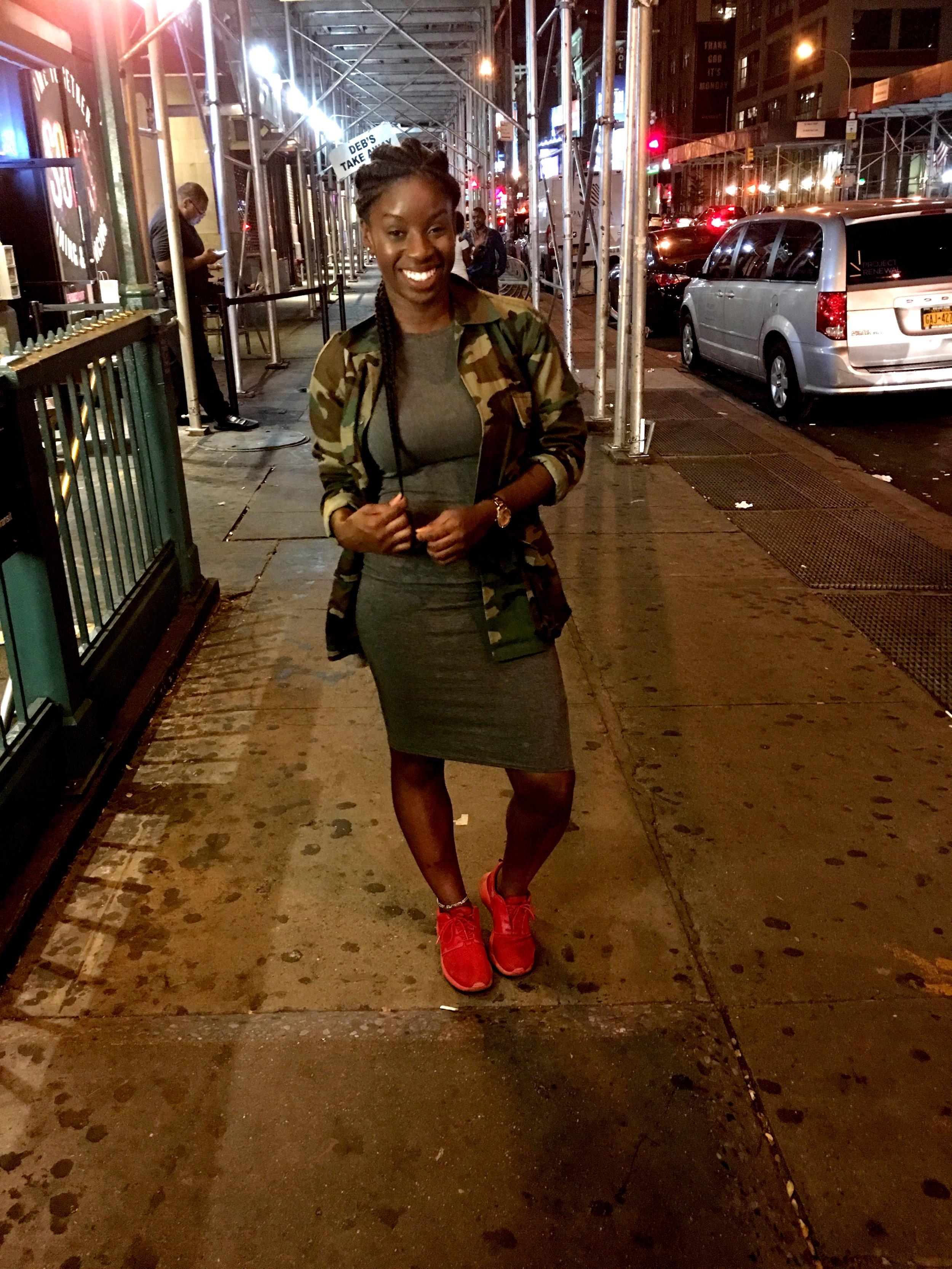 Trap Karaoke  at  SOB's   Jacket: Thrift, Dress:  Boohoo , Shoes:  Nike