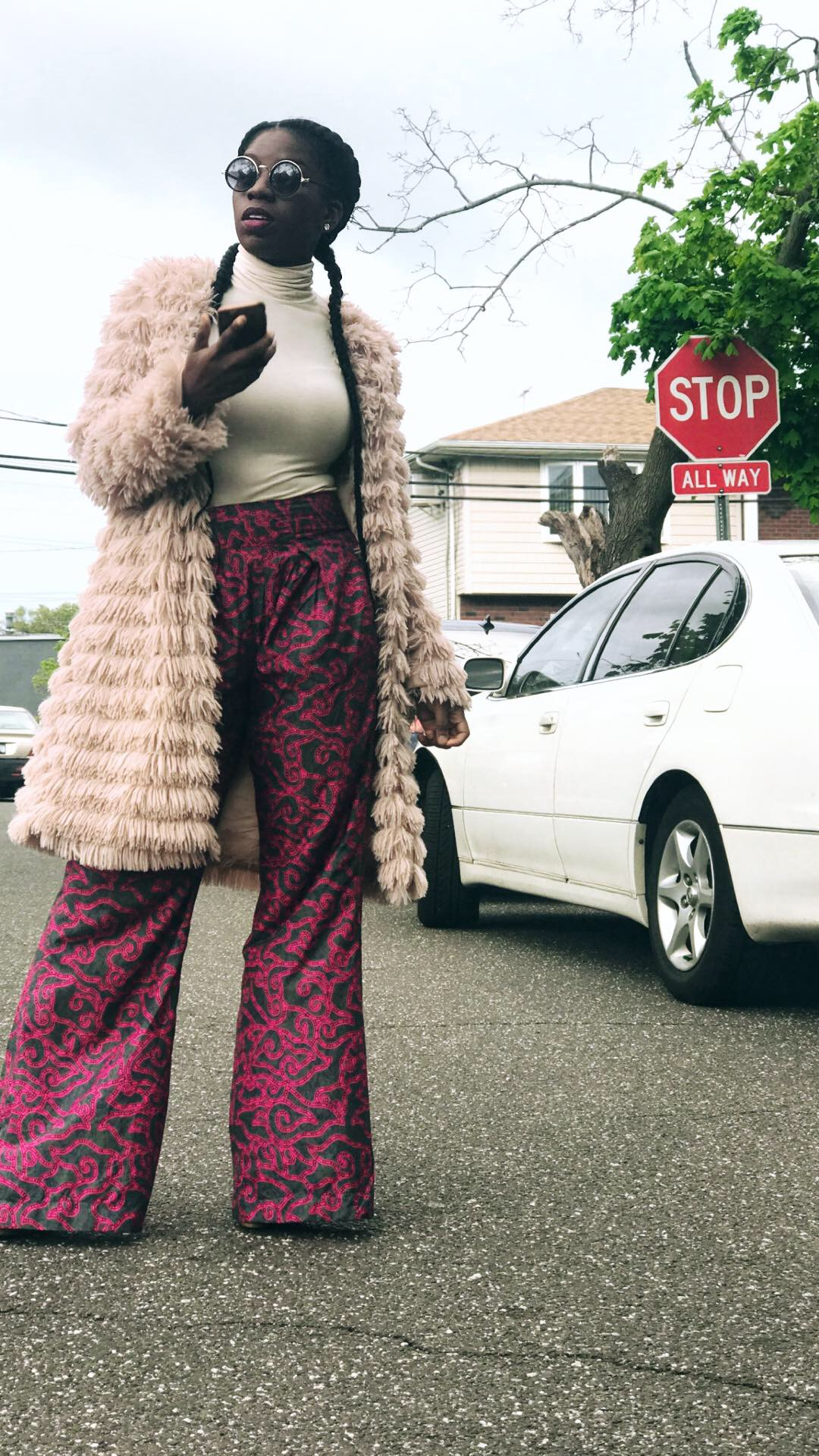 Saturday Shenanigans  Faux Fur Jacket:  Boohoo , Turtleneck: Rugby Ralph Lauren (discontinued), Wide Leg Trouser: Tailor made