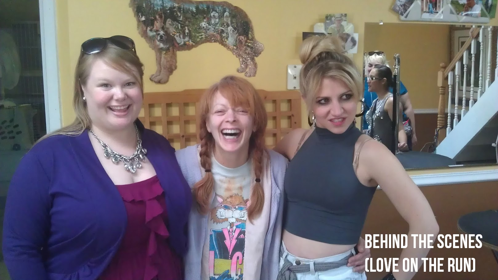 "Jen and co-stars Frances Fisher and Annaleigh Ashford BTS on ""Love on the Run."""