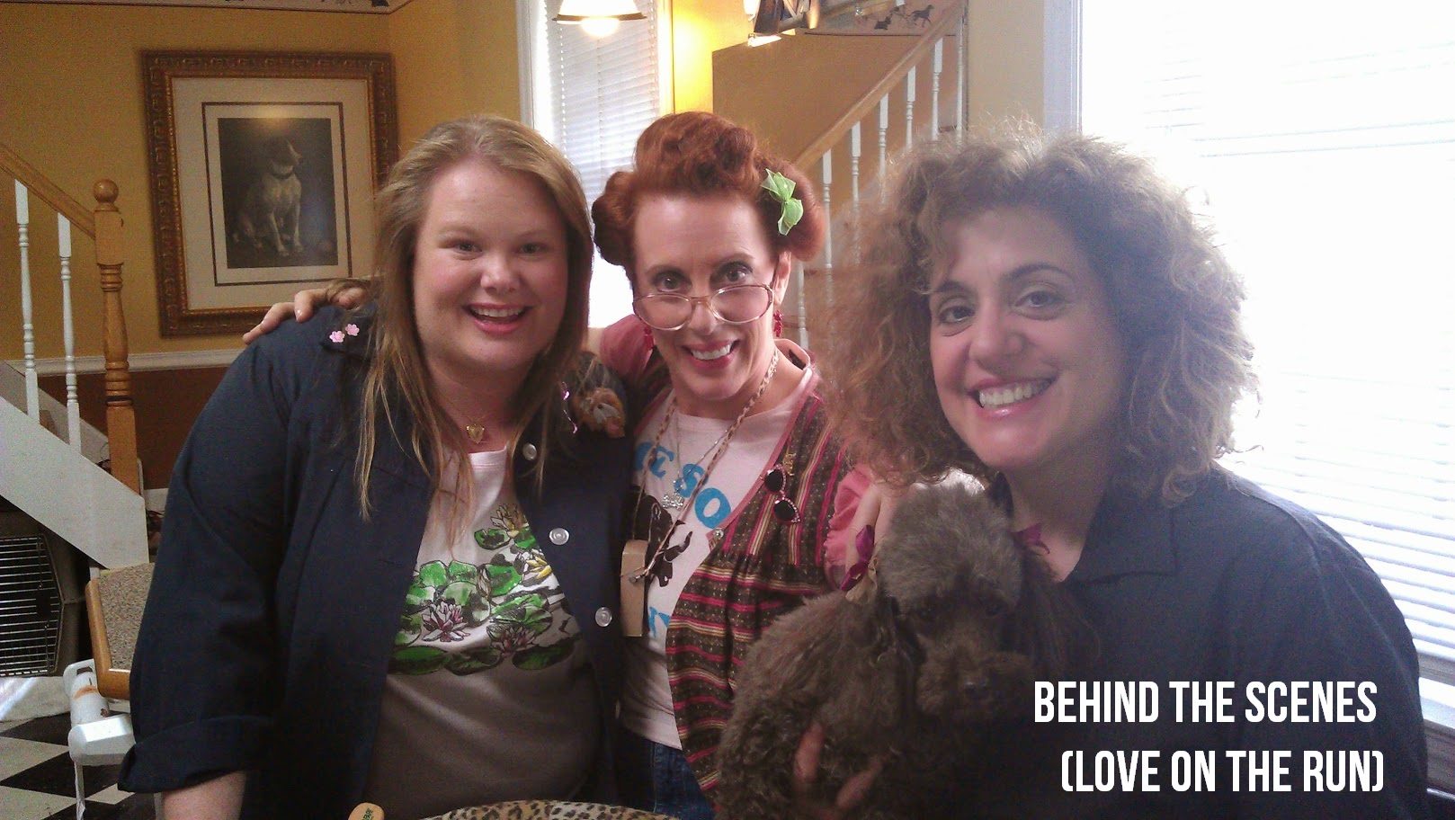 "Jen and co-stars Ruth Gottschall and Mary Testa BTS on ""Love on the Run."""