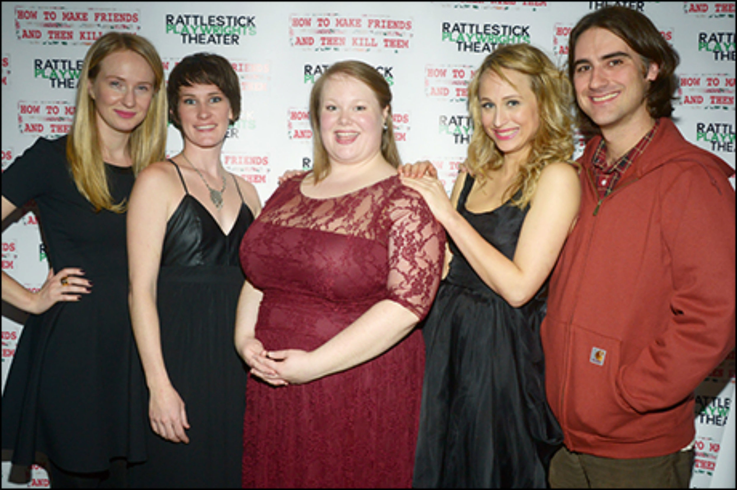 "The cast and creative team of ""How to Make Friends and then Kill Them"" at Rattlestick Playwrights Theater."