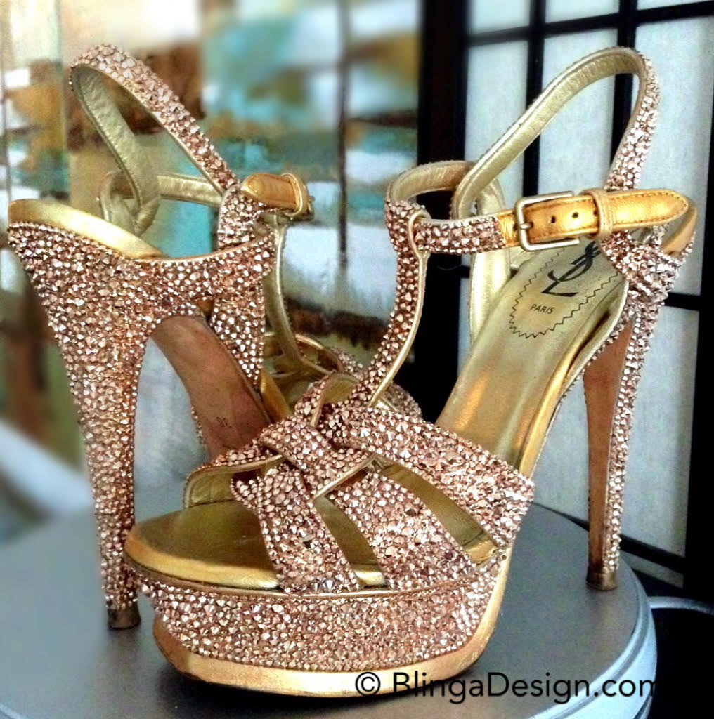 YSL Tribute sandals in Swarovski Rose Gold Crystals
