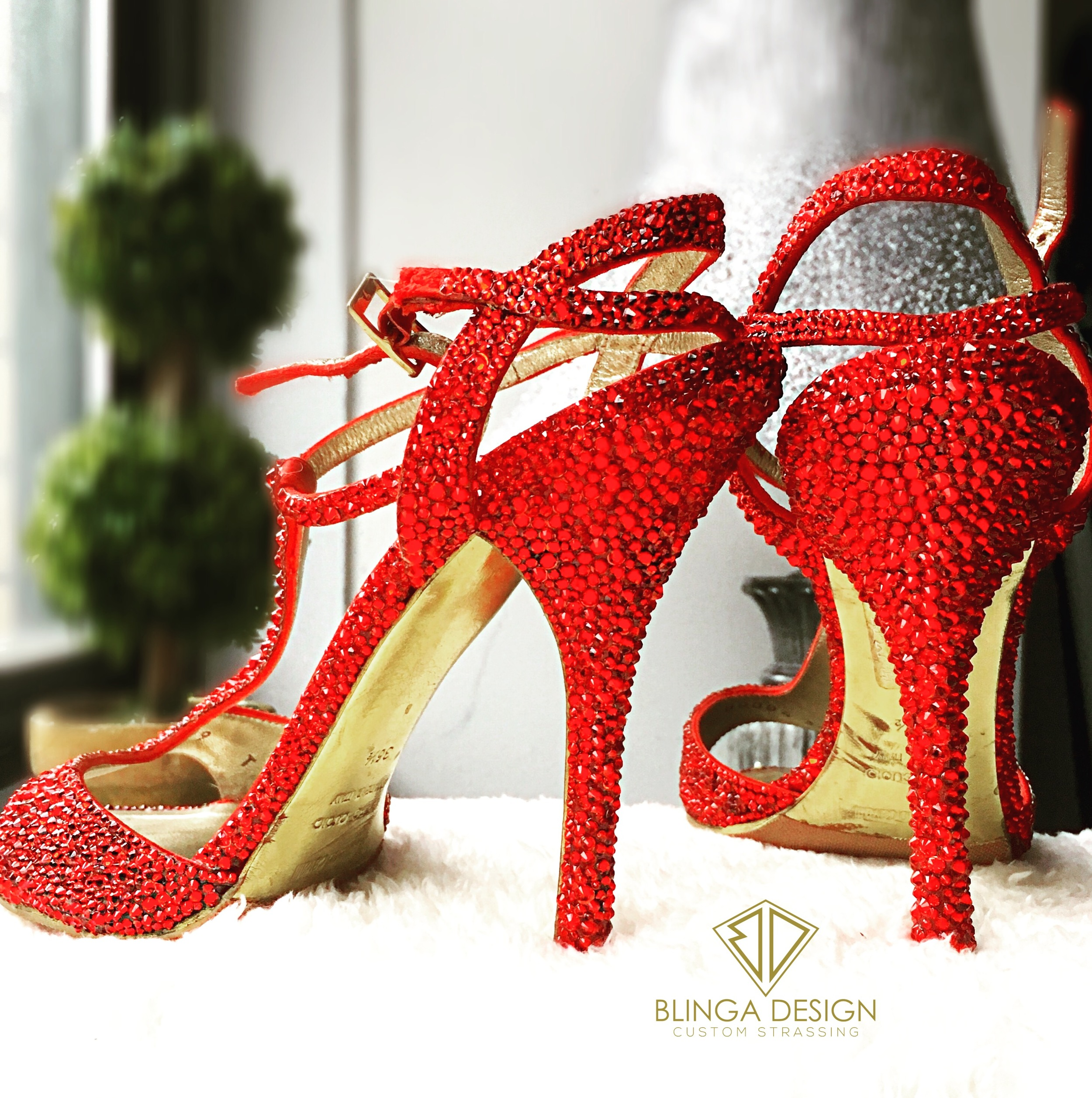 Roberto Cavalli red crystal sandals