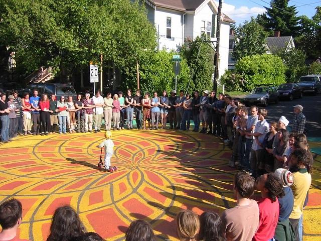 Residents restore neighborhood squares in Portland, Oregon. Photo by Jan Semenza