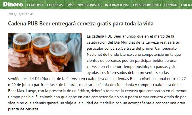 Cadena PUB Beer entregará cerveza gratis para toda la vida
