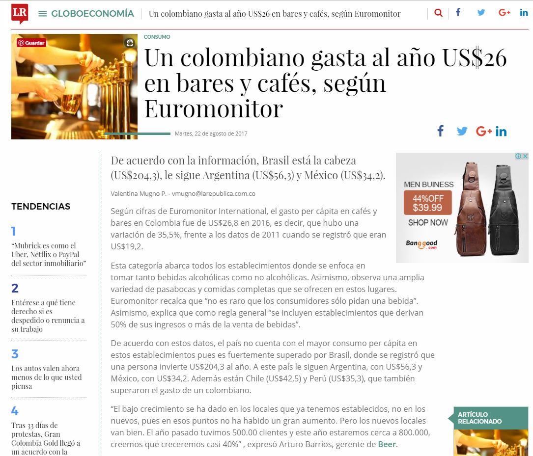 Un colombiano gasta al año US$26 en bares y cafés, según Euromonitor