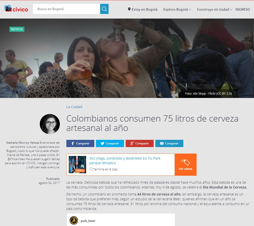 Colombianos consumen 75 litros de cerveza artesanal al año