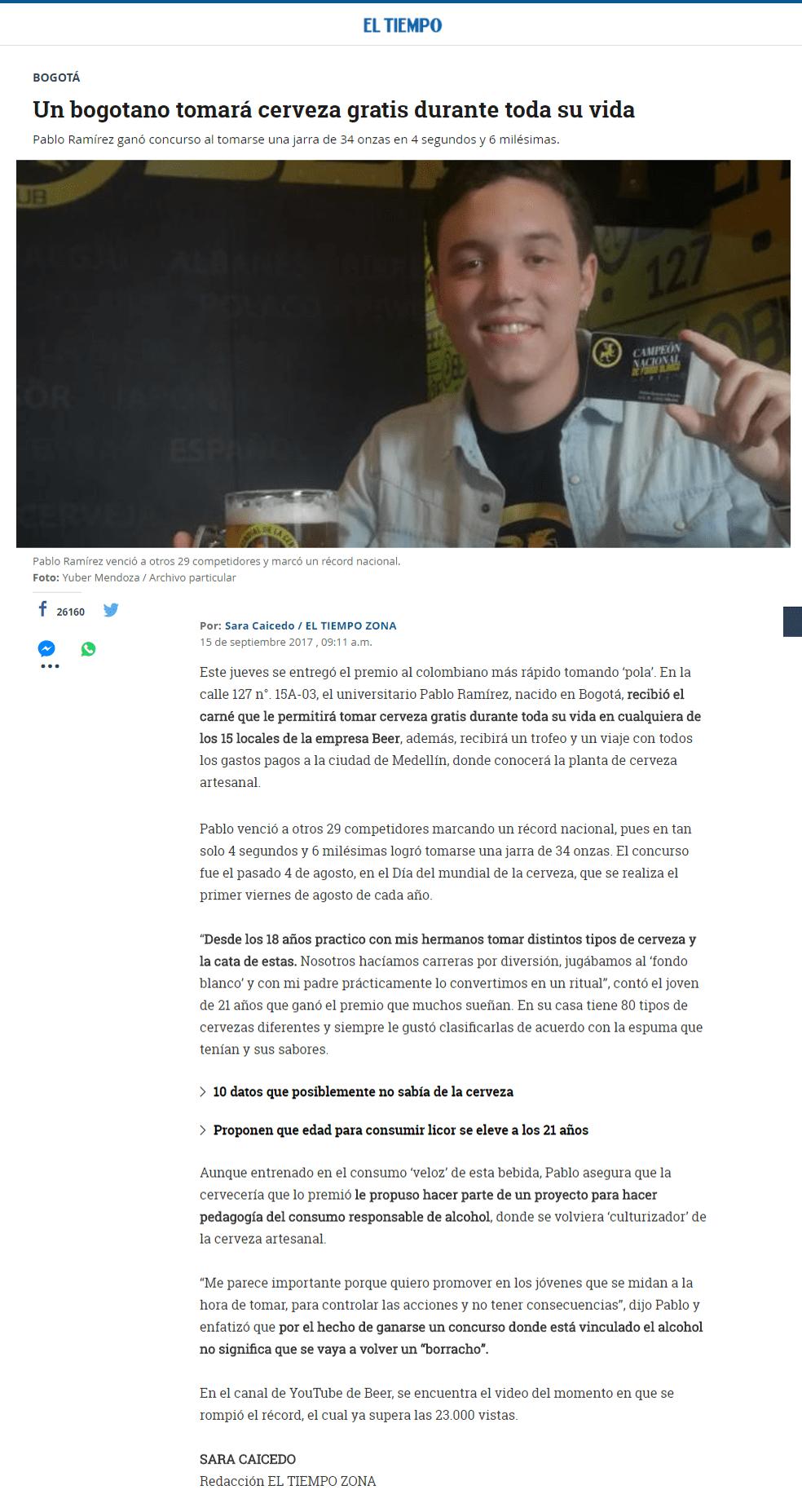 Un bogotano tomará cerveza gratis durante toda su vida