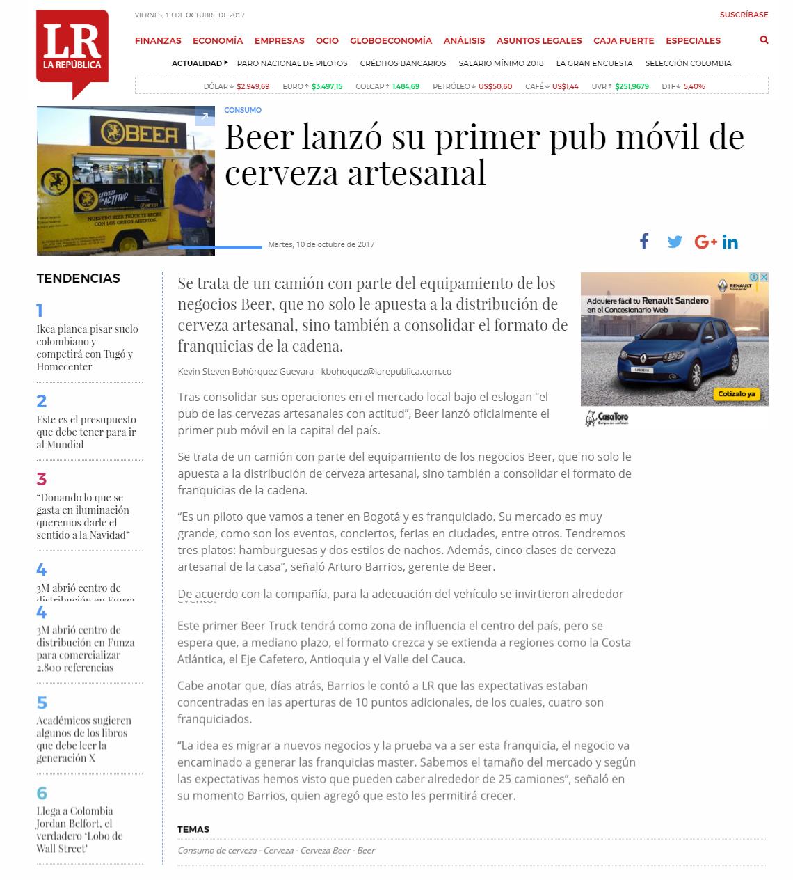 Beer lanzó su primer pub móvil de cerveza artesanal