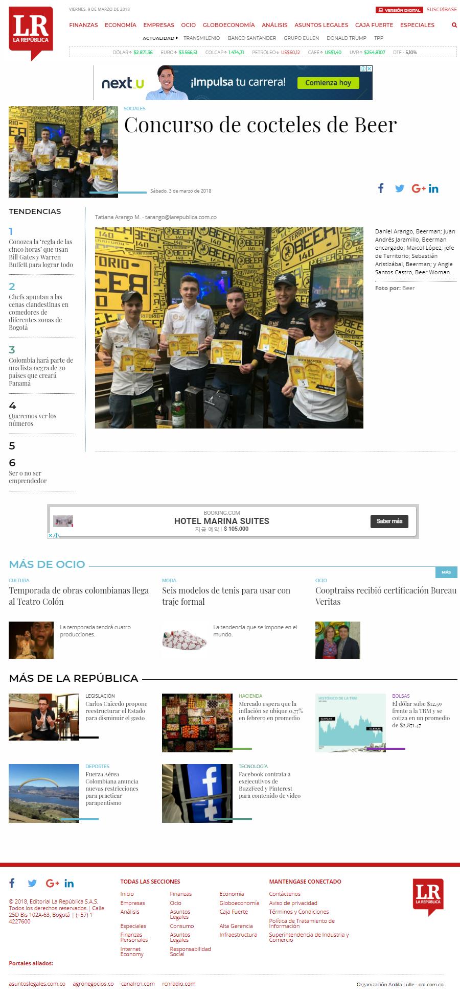 Ganadores Concurso de cocteles de Beer
