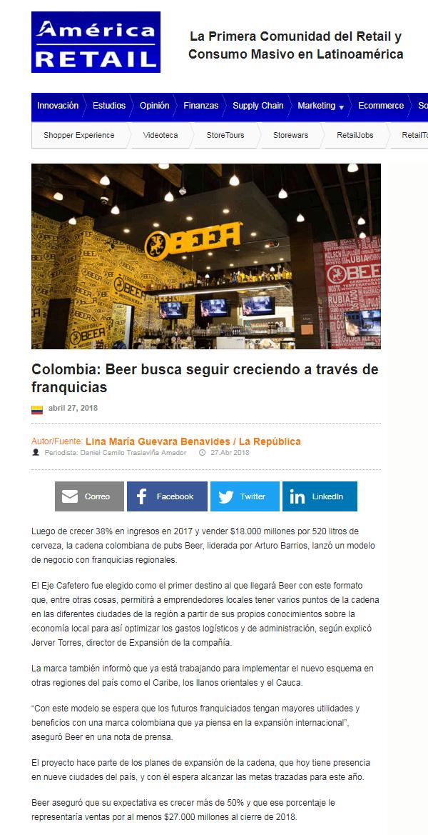 Colombia: Beer busca seguir creciendo a través de franquicias