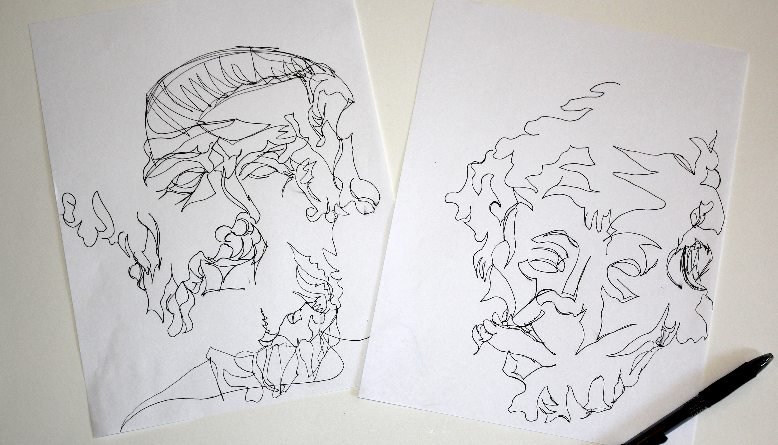 These were blind contour drawings of the Homer bust.
