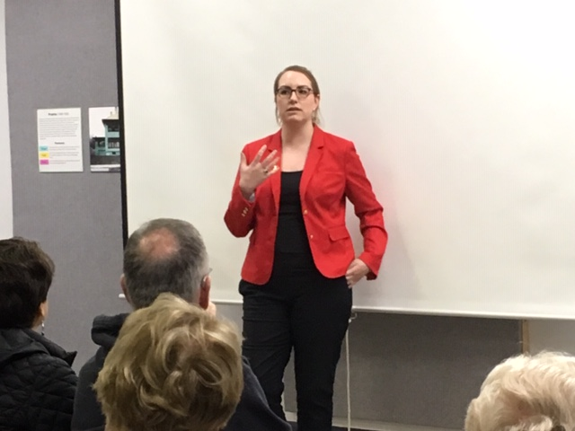 Talking about Joshua Lawrence Chamberlain at the Chemung Historical Society in April 2019.
