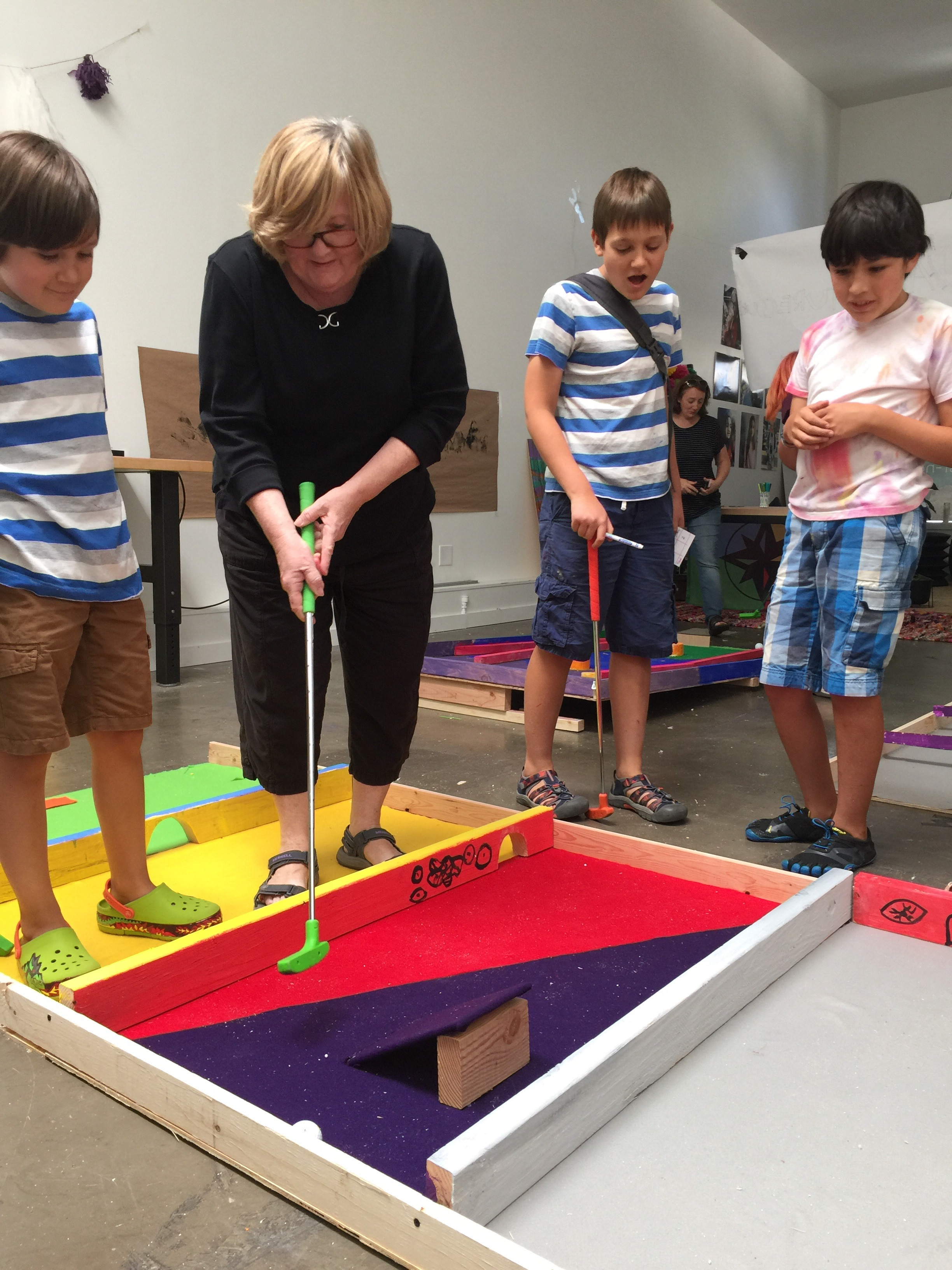 """Sebastien's hole was modeled after his favorite video game Terraria. Players had to pass through each level (and each painted """"boss"""") in order to make it to the finish line."""