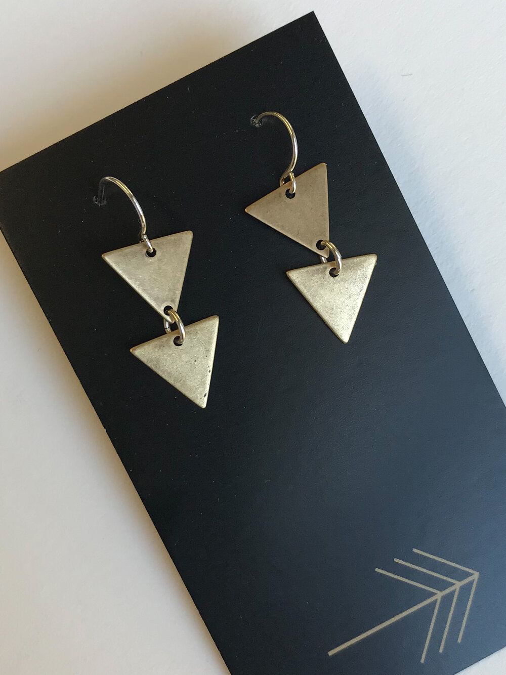 Triangular Earrings............/'Stolen Pride/' Ceramic Jewelry Ceramic Earrings Geometric Earrings Triangle Earrings Green Earrings