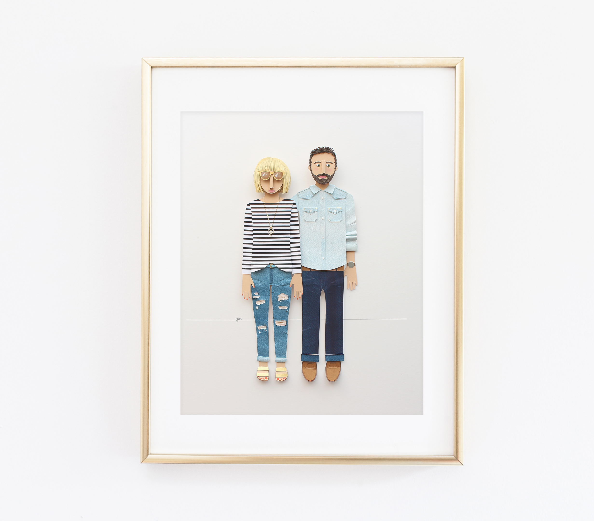 Couple portrait made from paper by brittani rose
