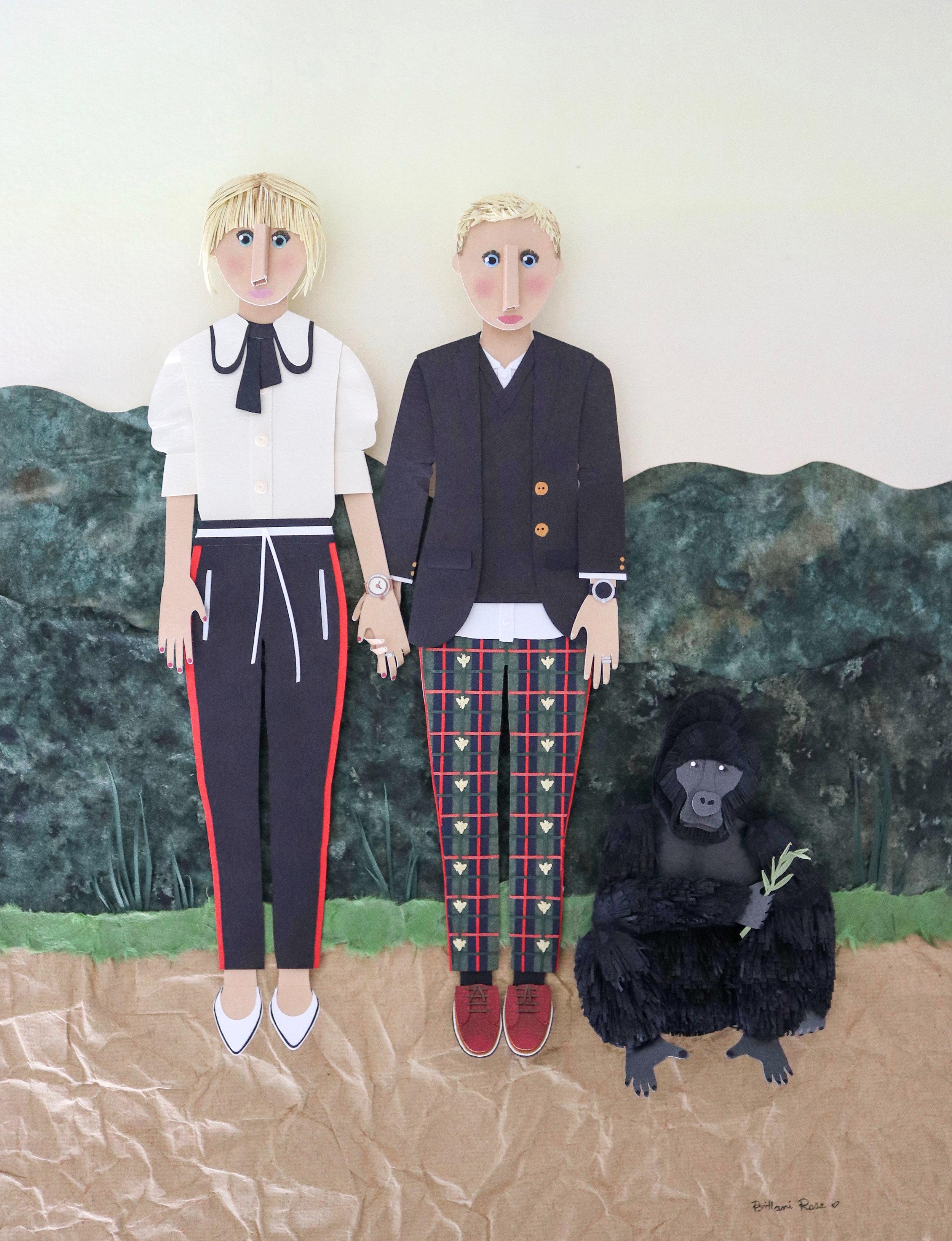 Custom portrait made from paper of Ellen DeGeneres and Portia de Rossi