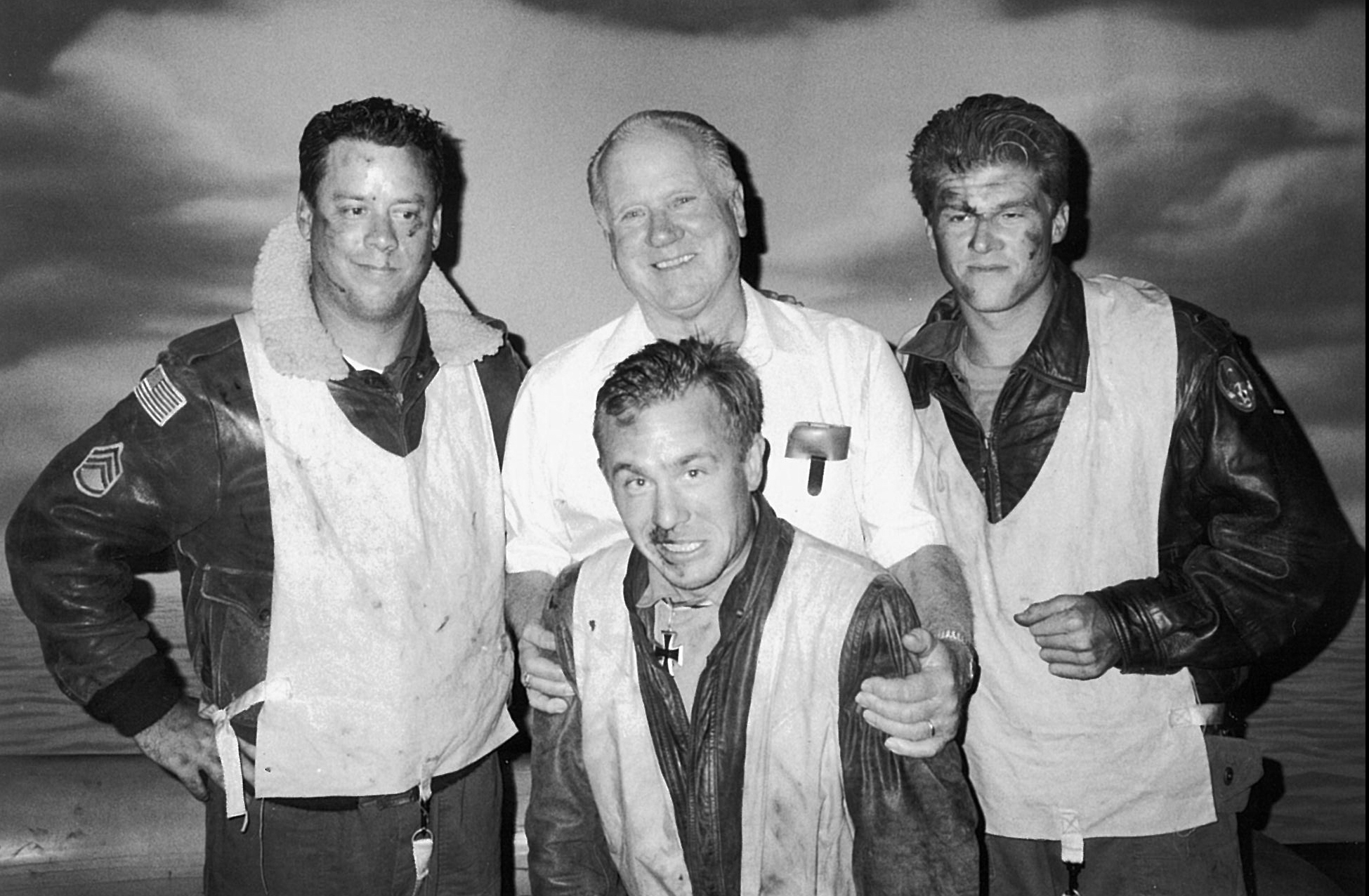 """Bud with the Cast of """"Adrift""""   June 5, 1998,Beachwood Studio Playhouse, Hollywood, Ca   Bud Kingsbury attended opening night of """"Adrift,"""" a one act play, written and directed by Mark Kirkland, about downed-B-17 crewmen who pull a downed-German pilot into their life raft in the middle of the open sea.After the performance, Bud got up on stage and told his own survival story to the audience. No one who was there will ever forget that evening."""