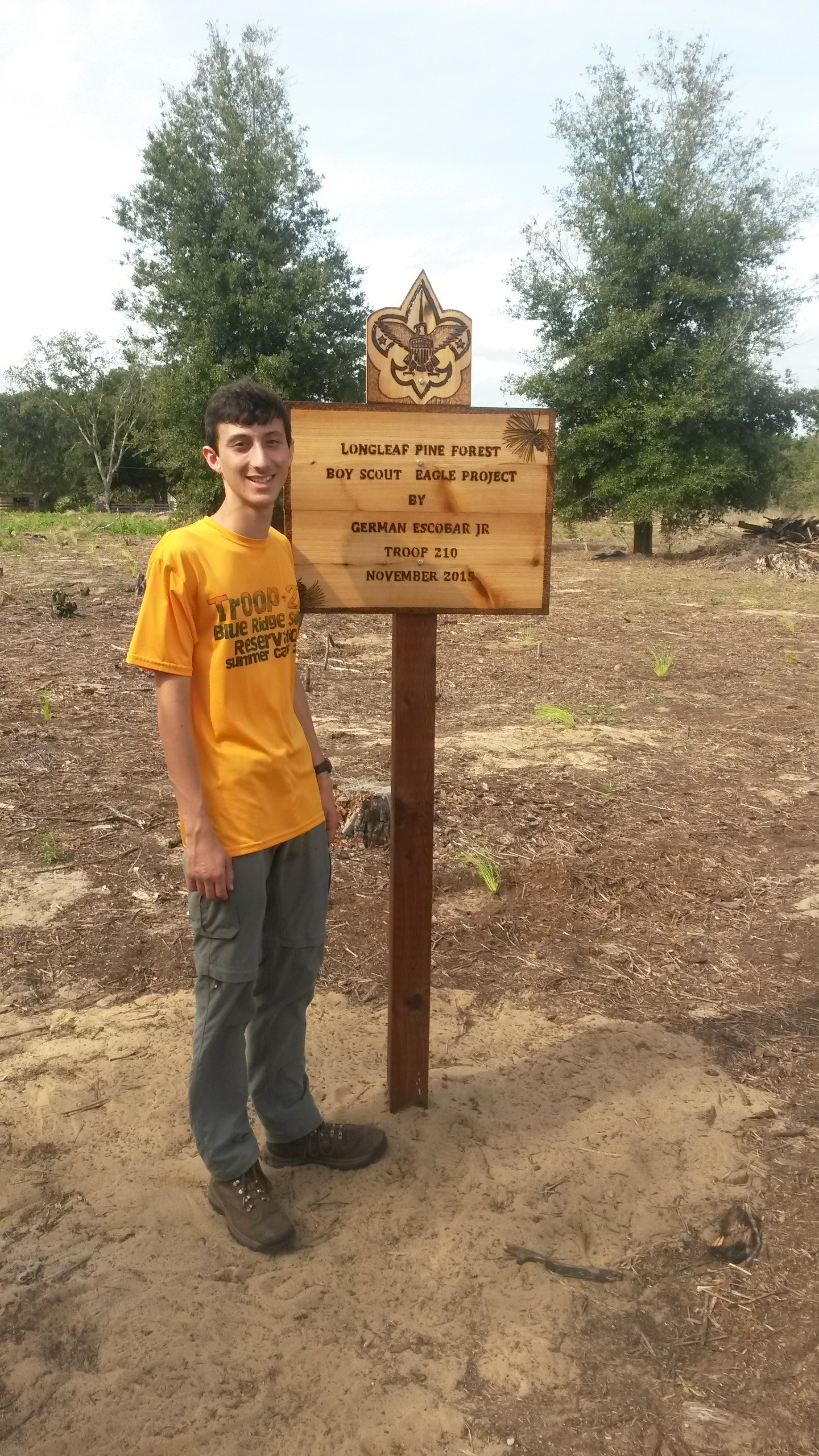 German Escobar and his completed Red Trail tree planting project