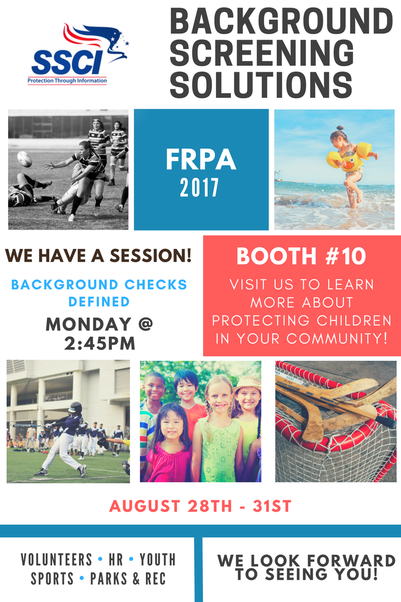 SSCI SportsEngine Background Checks for Youth Sports and Volunteers - FRPA Conference 2017