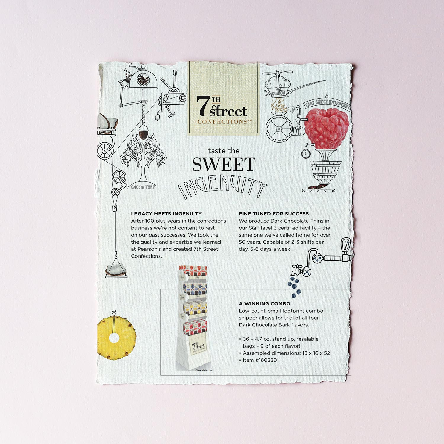 Sweet Ingenuity - A series of nonsense machine illustrations created for 7th Street Confections to be used on the packaging and promotional assets of their latest product.The illustrations were a chance to work in a quirky, fun and eccentric style creating a design that is unusual and effective.