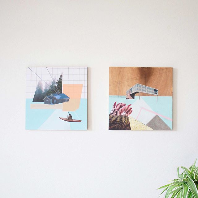 Two pieces from 2016 - The little one on the right recently sold and was sent off to a lovely collector living in Hollywood 🌞✨📽 . . . . . . #artwork #collector #mixedmedia #collage #architecture #inspiredbyarchitecture #architecturephotography #cabinporn #pastelcolours #blueandpink #building #geometric #hazylandscape #nature #contemporarylandscape #geometriclandscape #contemporaryscottishartist #grid #graphpaper #hangingartwork #studioshot #hollywood #creativespace #LA #tranquil #isolation #tbartwork #soldartwork #artworkcollector #californiaart