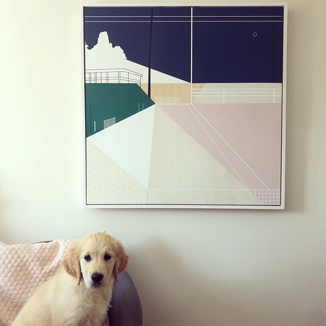 The cutest, most reluctant model 🌸 . . . . . . . #artwork #painting #studiopuppy dogsandart #dogart #colourcombo #contemporarypainting #inspiredbyarchitecture #paint #scottishpainting #cutepuppy #retrievers #retrieversgram #retrieverart #goldenretrieverpuppy #studiopic #creativespace #structurallandacape #geometricartwork #mauvepink #squarepainting #fluffypuppy #animalsandart #studiopal #artypal #creativeanimals #loveanimals #newdog #newpuppy