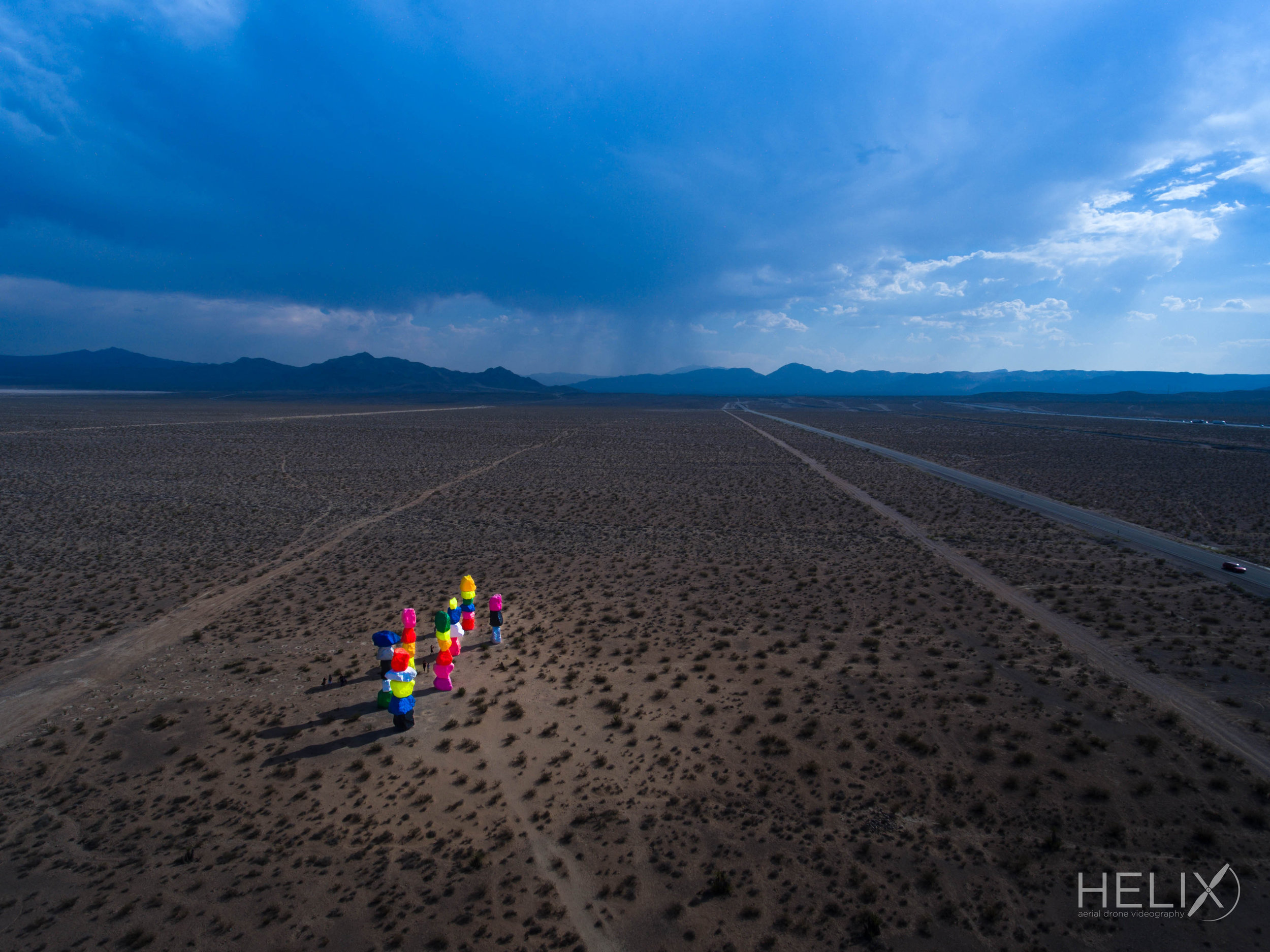 seven magic mountains drone photography