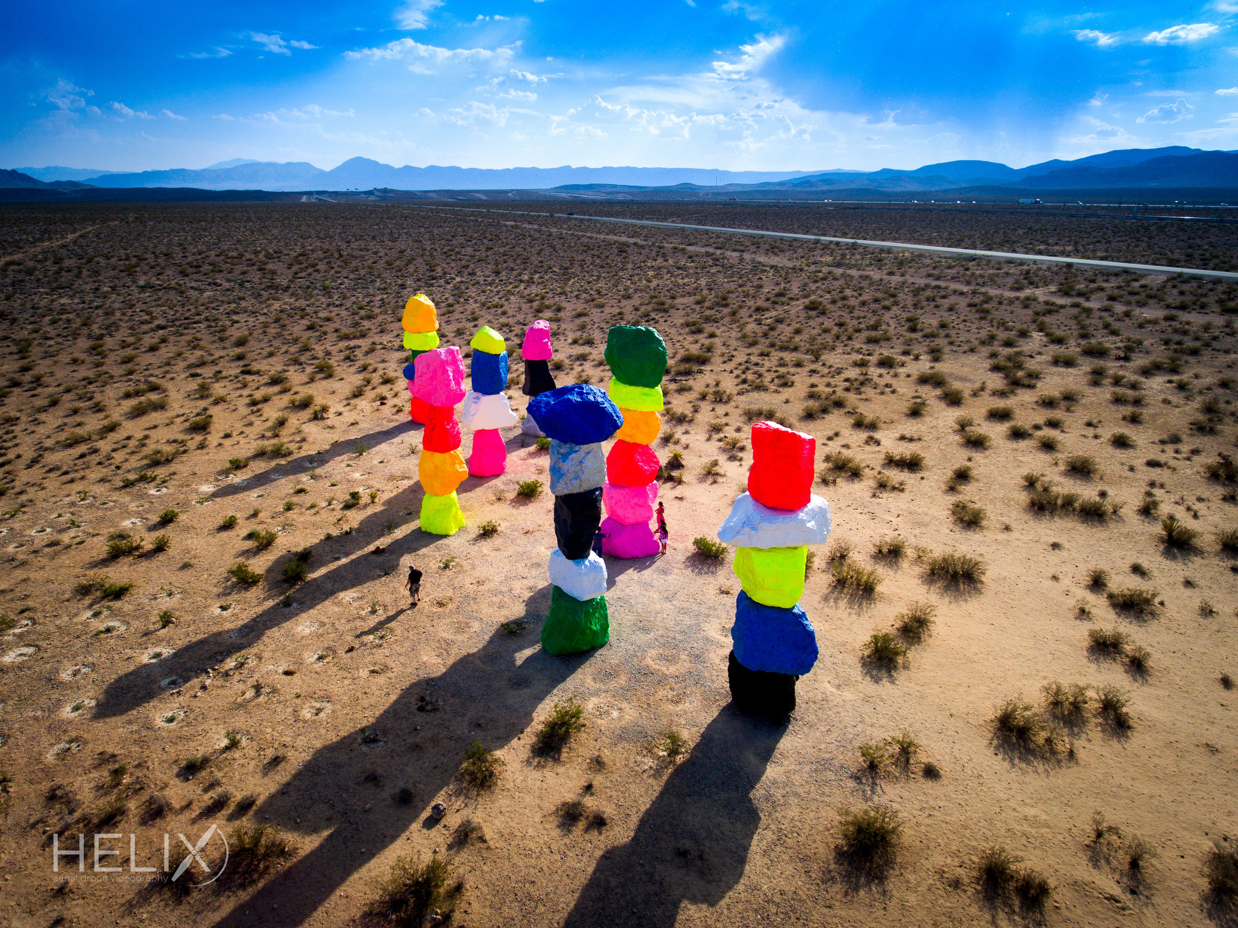 drone videography of seven magic mountains in nevada
