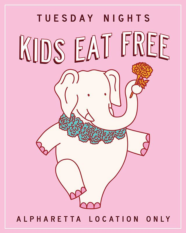 Grab the kiddos, cause from 5pm to close they eat fo' free 🤙🏽 Every Tuesday (in Alpharetta only) kids 12 & under can get their fave Indian street food on us — w/ the purchase of an adult entree. Applies to dine-in & kids menu only. See ya soon. 🧡