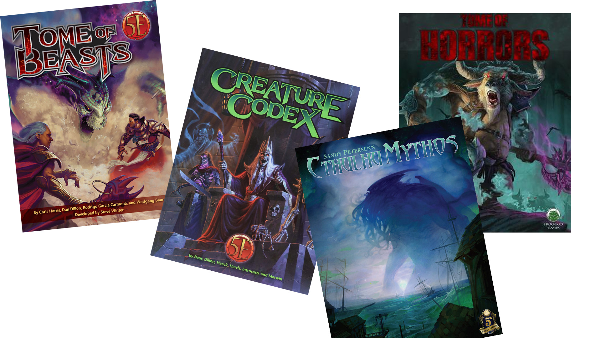 5E D&D Monster Books from Kobold Press, Frog God Games, and Petersen Games