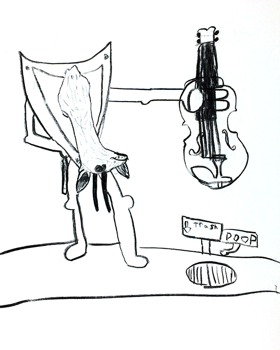 """Violin Lessons original drawing by Max McMichaels charcoal on canvas 30""""x24"""""""