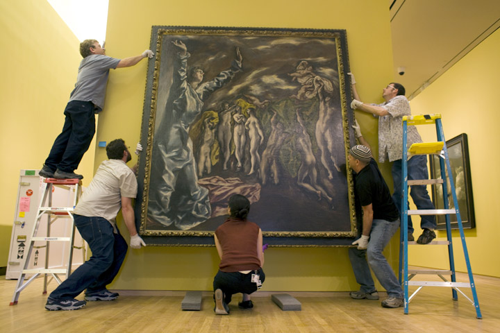 """Installing El Greco's """"Opening of the Fifth Seal"""" L to R: Brad Johnson, Jeff Bell, (unknown), Mark Brown, and Warren Hicks from the  El Greco to Velazquez: Art during the Reign of Phillip III exhibition, 2008"""
